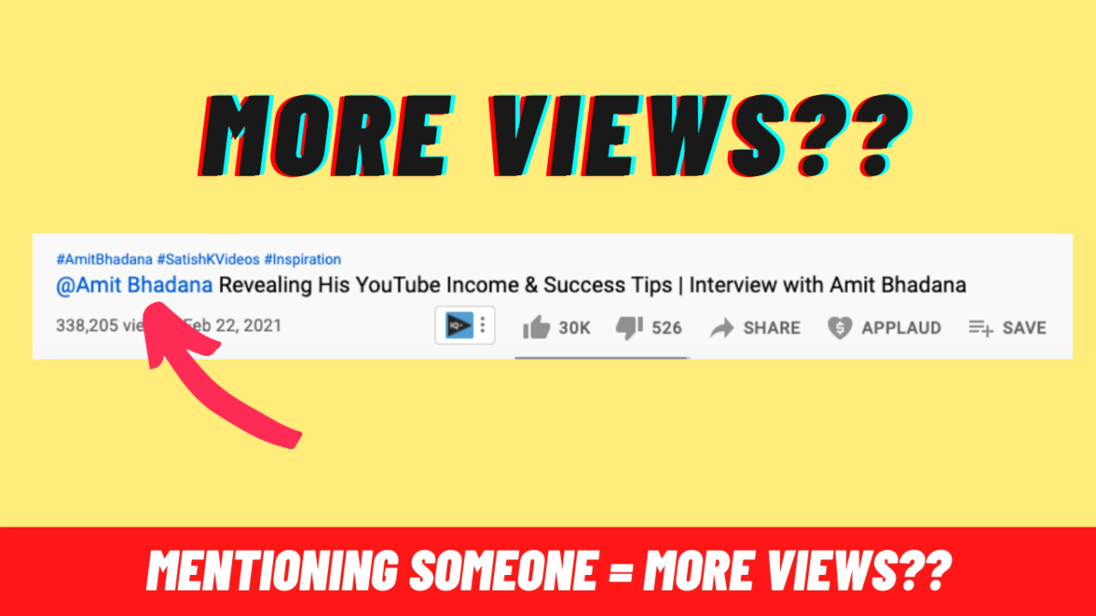 How can I tag someone in a YouTube video without 1k subscribers?