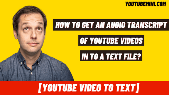 [Free] How To Get Audio Transcripts Of YouTube Videos Into A Text file? | Youtube Video To Text
